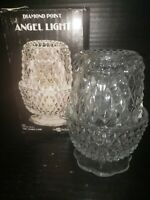 1983 Indiana Glass Angel Light Diamond Point Clear Candle Holder New In Box