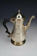 Francis Crump English Sterling Silver Armorial Coffee Pot London Hallmarks 1764