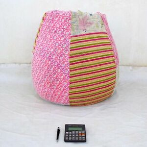 Handmade dorm room chair kantha Bohemian Hippie Bean Bag Gypsy Ottoman Pouf BE07