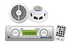 200W White Marine Boat yacht Indash USB MP3 SD Radio Receiver 2 New Speakers Pkg