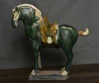 8,2 pouces l'ancien cheval guerre palais céramique chine Tang Sancai cheval vert