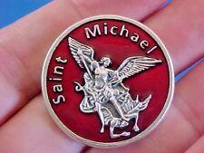 "ARCHANGEL ST MICHAEL Pocket Token Protection RED ENAMEL 1-1/8"" Saint Medal"