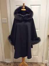Charcoal Grey Cashmere Wool cape with Snow Top  fox fur Hood and Cuff Trim LINED