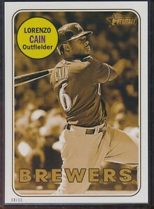 2018 Topps Heritage High Number Lorenzo Cain 5x7 Gold Action Image /10