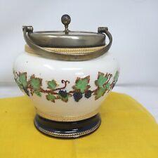 More details for antique art deco ice bucket biscuit barrel staffordshire ceramic epns vine
