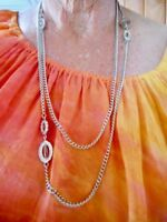Authentic Vintage 1960's Silver Tone Necklace Wear Long or Double Wrap Necklace