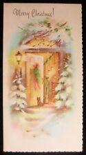 Vintage Christmas Greeting Card Home's Open Door in Winter w Scottish Terrier