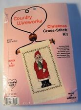Christmas Santa w/ Tree Cross Stitch Kit Heart Towel Bar Quick & Easy