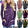 Autumn Women's Long Sleeve Tops Blouse Casual Pocket Hoodies Pullover T Shirt US