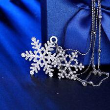 18k 18CT White Gold GF Long Christmas Snowflake CZ Pendant Necklace N631 Gift