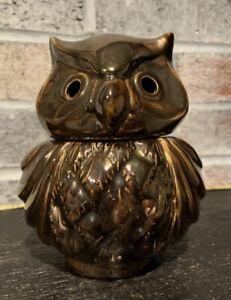 Owl Votive Tea Light Candle Trinket Holder Brown Ceramic Detailed Design Lid