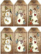 Primitive SNOWMAN ~ Noël Fabrication Carte Toppers-Tag forme-finition laquée