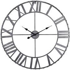 Wall Clock 32 in. Dia Round Metal Quartz Non-Ticking in Antique Bronze Finish