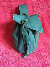 Blue leather drawstring belt bag purse LARP SCA mediaeval re-enactment B elvish