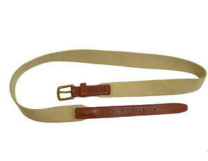 POLO Ralph Lauren Brown Leather Beige Surcingle Gold tone Buckle Belt Size 36