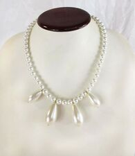 Created  Round & Pear shape White Pearls Necklace