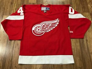 MENS SMALL - Vtg NHL Detroit Red Wings #40 Zetterberg CCM Sewn Glued Jersey