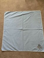 """Vintage  Tablecloth Blue w/ Hand Embroidered Donkey 35"""" X 34"""""""