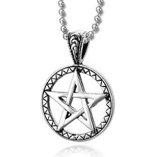 MENDINO Men's Stainless Steel Pendant Necklace Pentagram Pentacle Star Silver