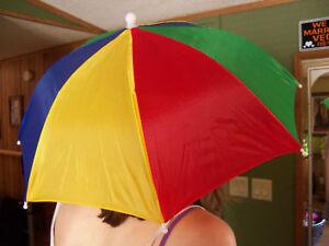 """Multi-Colored 20"""" Rain Umbrella Hat Head Cover"""