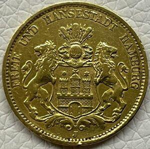 Hamburg 20 Mark Gold 1878 J Goldmünze Kaiserreich