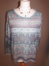 ZARA Ladies Green Blue Pink Striped Fine Knit Jumper Sweater Top Size M VGC