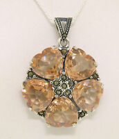 Marcasite Sterling Silver Citrine Heart Cluster Round Flower Pendant w/ Chain