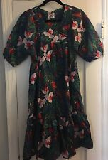 Jades Fashions Hawaii Vintage Dress  Mumu Muumuu  Tropical Luau Parrots POCKETS