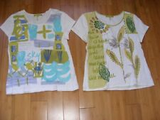 Sigrid Olsen GREEN Floral Signature Scoop Neck Summer Top S/S Shirt Petite M