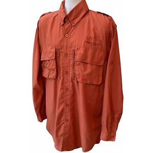 Cabelas Guidewear Men's Vented Button Down Up Fishing Shirt Size Large Tall LT