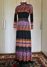 Maxi Dress Vestito Lungo Vintage Originale Anni  70 Nero Fantasia Tg 40 b3f1309d89c