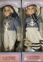 "Cathay Collection Boy and Girl Sailor Porcelain  Doll Set 16""- Both New In Boxes"