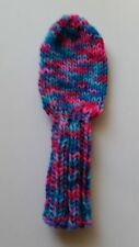 "BLUE/PINK/PURPLE MULTI 9"" S HAND KNIT GOLF CLUB HEAD-COVER for Med. Hybrid"