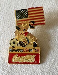 FIFA World Cup USA 94 Coca Cola USA Flag Pin Striker Dog Mascot