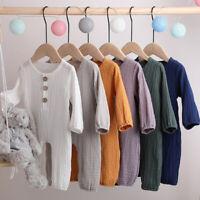 NEW Newborn Baby Pure Color Romper Cotton Linen Long Sleeve Jumpsuit Bodysuit