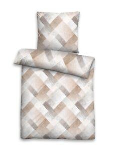 Biberna Single Jersey Baumwolle Bettwäsche 4 tlg Streifen grau braun 135x200 cm