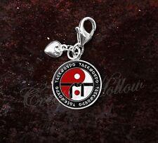 925 Sterling Silver Charm Taekwondo Martial Arts MMA