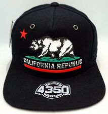 California Republic Snapback Cap Hat Cali Bear Flag Black NWT