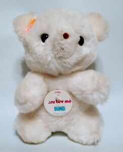 "Vintage Gund White Luv Me Bear Small Stuffed Plush Toy Rattle 6"" 1976 Flowers"
