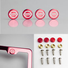 Laser Etched 4 Red Aluminum Fit Nissan License Plate Frame Fastener Screw Cap