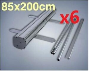 6x Silver 850x2000mm  Budget Roll Up Retractable Pull Up Banner Stand