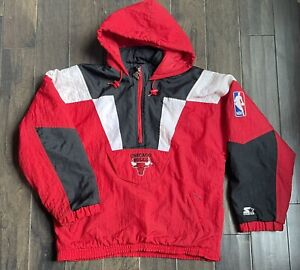 Vintage Starter Chicago Bulls Pullover 1/2 Zip Jacket Sz L/XL 90s Jordan