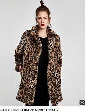 Zara Leopard Print Faux Fur lapel collar coat jacket AW18/19 BNWT Size M