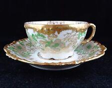 J P Limoges Cup & Saucer Set Pink & Green Floral Lots of Gold