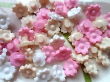 100pcs Plastic Button Flower Doll Kid Sew Children 10mm Cream Pink White Mixed