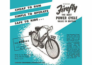 Mid 1950's Vincent Firefly 48cc cycle motor poster