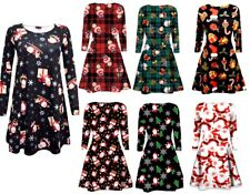 GIRLS CHILDREN WOMENS XMAS PRINT MOTHER DAUGHTER CHRISTMAS FLARED SWING DRESS