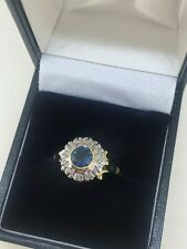 Diamond and Sapphire Ring 18ct yellow and white gold Coronet Cluster