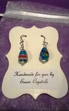 TURQUOISE MILLEFIORI GLASS teardrop shaped handmade earrings