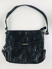 "Stone & Co Soft Black Leather Shoulder Bag Handbag Purse Satchel Size 12"" x 10"""